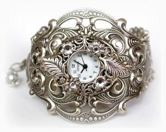 Silver Watch Women Victorian Unique Watches Gothic Steampunk Watch Ladies Watch Floral Filigree Watch Women Watches Victorian Jewelry