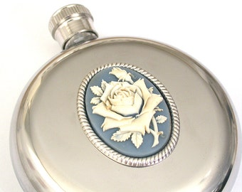 Women Flask Round Flask Stainless Steel - 5 oz -Victorian Flask Vintage Style Accessories Romantic Flask Rose Flask