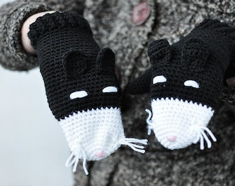 Black Cat Mittens Gloves Gift Wool Crochet Winter Accessories Cold Days Woman Girl Teens Cozy Black White Woodland