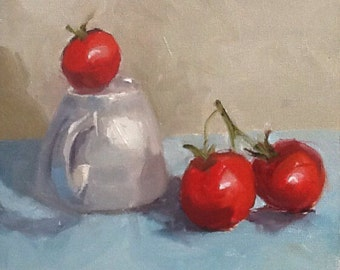The third wheel, original still life oil painting,