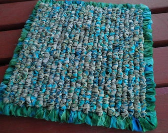 7 x 7 Inch Hand Hooked Fabric Pot Holder, Turquoise Fabric Trivet, Batik Table Mat, Beachy Home Decor, Tonal, Modern,  Kitchen Hot Pad