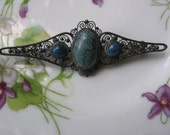 Victorian Filigree Collar Bar Pin Brooch with Blue Cabochons from the Vintage Jewelry Box