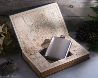 Hollow Book Safe and Hip Flask - Vintage (1950) - Boswells London Journal 1762-1763
