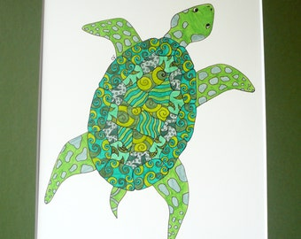 """Turtle drawing, Original pen and ink drawing, abstract turtle art, green and black , """"Sea Turtle"""""""