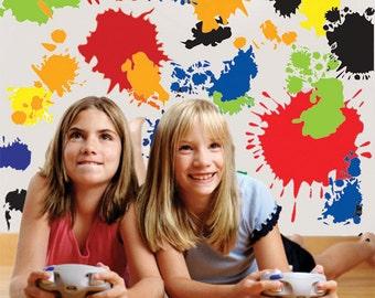 Kids Wall Decals, Paint Splat Wall Decals, Vinyl Paint Splatter Wall Stickers