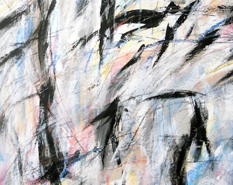 Construct 9, 9-11-13 (abstract expressionist painting, black, pastel, pink,  blue, yellow,  white, cream)