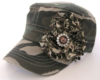 Cadet Military Distressed Hat in Army Green Camouflage with Camouflage Flowers and a Matching Brown Rhinestone Accent