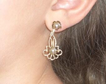 Earrings - Coro - Lavaliere Style - Screw Back - Vintage