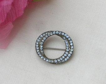 Brooch - Blue Rhinestones - Double Circle Brooch - Sterling Silver - Vintage