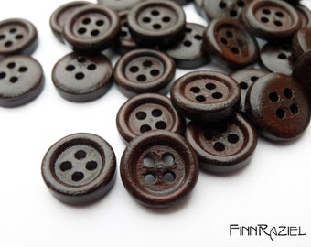 8 small wooden buttons ø11mm dark brown buttons for kids clothes