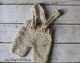 Newborn Short Pants Oatmeal Tweed Suspenders Crochet Photo Prop
