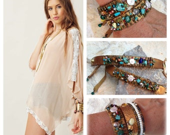 Wire Wrapped Leather Bracelet with Gemstones, Pearls and Beads