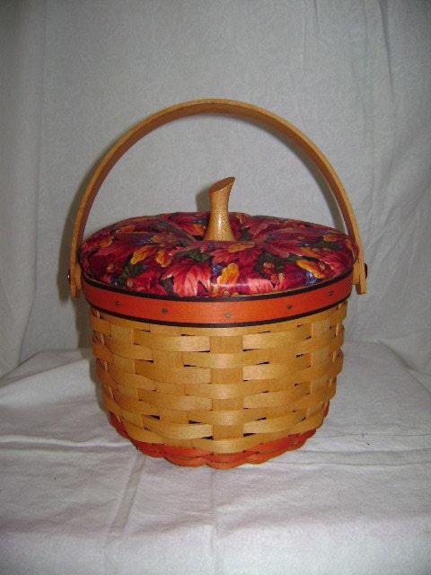longaberger small pumpkin basket with lid 16012. Black Bedroom Furniture Sets. Home Design Ideas