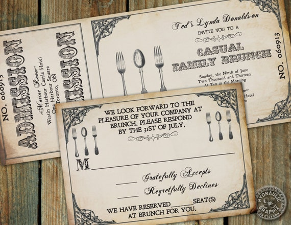 Day After Wedding Brunch Invitation: Steampunk Cuttery Ticket Invitation To Brunch By