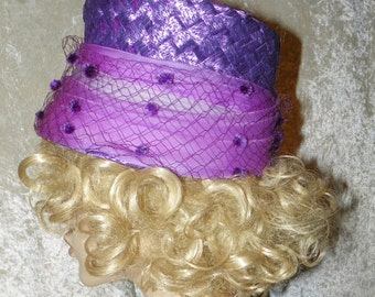 Hat Ladies  Bright Violet Spring Straw Sheer Bunched Wrap and Pom Pom Netting So Cute & Like New!