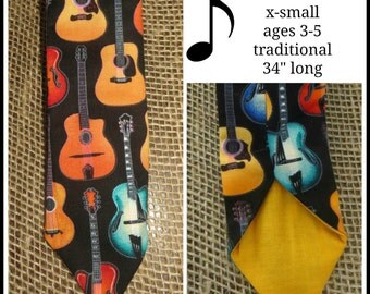 Rockin Guitar  Necktie Boys Xsmall Traditional