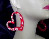 Resin Lucite Heart Earrings with Shell Confetti