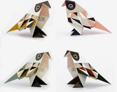 DIY KIT BIRDS, mustard/petrol/green/rose, 3 of each colour variation: 12 foldingdrafts and folding instruction (paper, video)