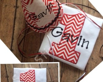 Appliqued/Embroidered chevron First Birthday Shirt and Hat Set