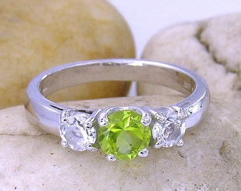Peridot and White Topaz 3 Stone Sterling Silver 925 Ring - made to order in your ring size : R4