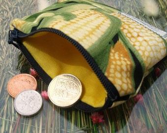 Novelty coin purse - zippered pouch - Corn Maize print