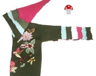 "Elf Hoodie DEPOSIT Special Order ""Hummingbird"" Sz Medium / Large Pixie Pullover Birds Flowers Paradise Dark Moss Green Recycled Fairy Jacket"