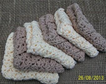 Crochet Cotton Washcloth Set of 6 - Gift Set, engagement, birthdays.  Womens/Mens/Unisex Eco-friendly washcloths. Bath Gift Set