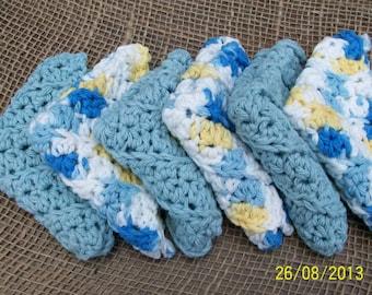 Crochet Cotton Washcloth Set of 6 - Gift Set, engagement, birthdays. FREE SHIPPING Housewarming gift, Eco-friendly washcloths. Bath Gift Set