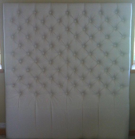 Diamond Tufted Organic Cotton Headboard Queen by samanthadanielle