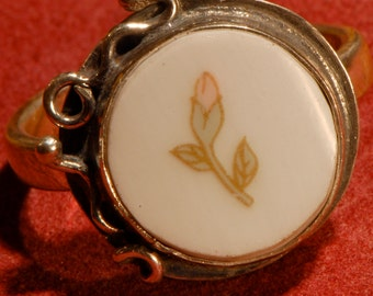 SALE   Rose Bud China Shard and Sterling Ring