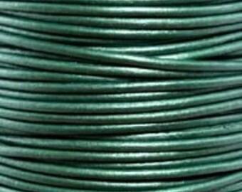10 Yards - 1.5 mm Leather Cord - Metallic Ocean Green, #66- 30 Feet