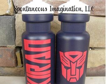 CLEARANCE- Sport Water Bottle-  Children Gift Ideas- Transformer Birthday Favor