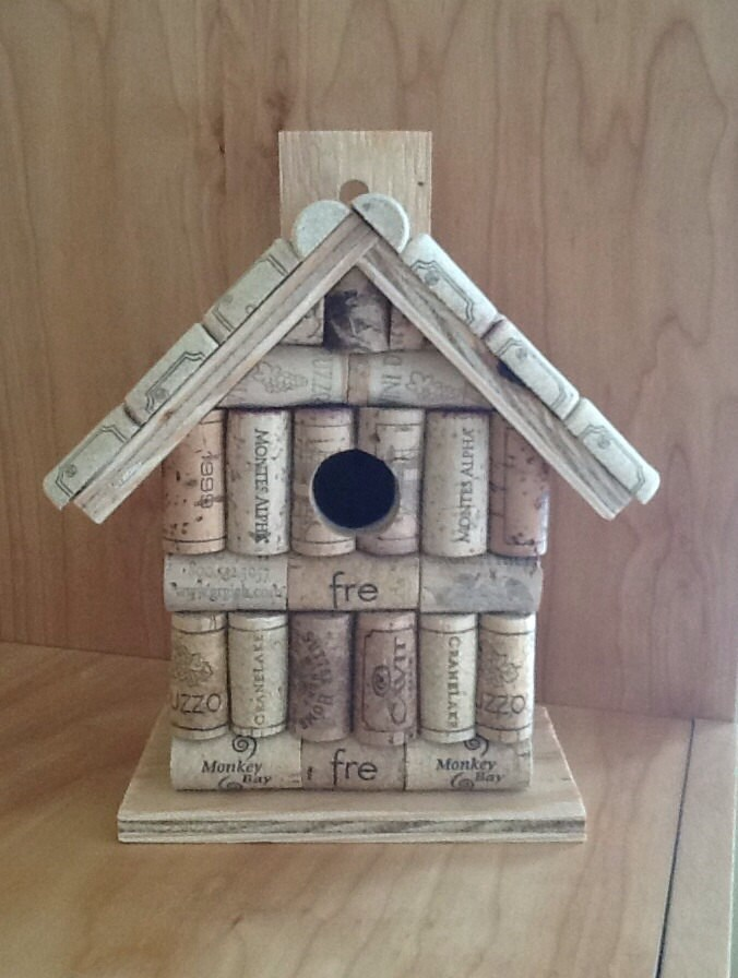 Wine Cork And Wood Wooden Birdhouse Bird By