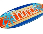 Boys Surf Decor, 18 inch Surfboard Wall Art, Beach Theme Surf Board Sign, Personalized Family Name Sign, Surfboard Decor, Thomas