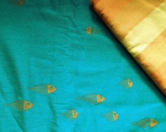 Wrap conversion mei tai from Didymos Goldfish acqua and Dolcino Sumatrawrap wraps.