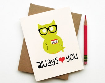Owl always love you doodle card hipster totem owl with glasses and name tag green white red