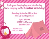 Pink Campout Invitation Camping Camp Out Invite DIY Printable Girls Birthday