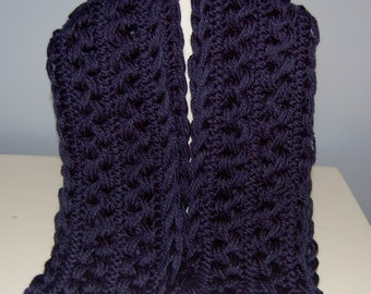 Navy Blue Hairpin Lace Scarf