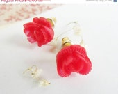 CLOSE OUT SALE Flower Earring Post -Red   Cabbage Rose Post earrings-Sweet 16 gift - great gift for Christmas-