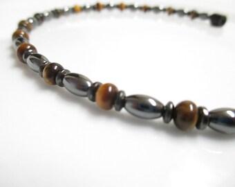 Magnetic Hematite Tiger Eye Bracelet - Bracelet, Anklet, Pet Collar, Necklace