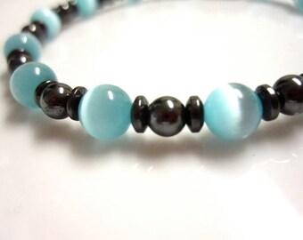Magnetic Bracelet, Magnetic Therapy Bracelet, Blue Cats Eye Bracelet