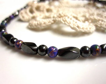Magnetic Hematite Anklet - High Power Purple Picasso