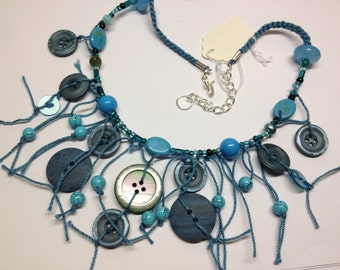 Vintage Button Neclace in Teal