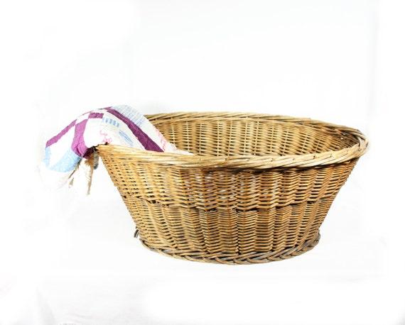 Antique Large Wicker Laundry Basket