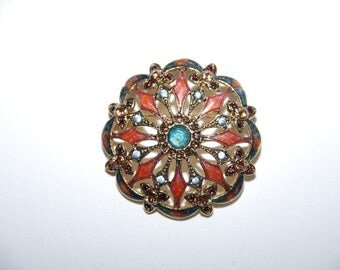 Beautiful Vintage Monet Enameled Brooch