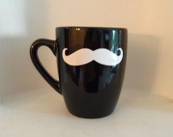 Mustache Mug, White Mustache, Housewares, coffee mugs or tea mugs, Home and Living, Housewares, mugs, Xmas, Cups & Mugs, gifts, Holidays