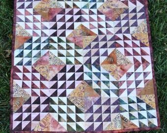 "Wall Hanging - ""Ocean Waves""-  Earth-tone batiks- Handmade Wall Quilt"