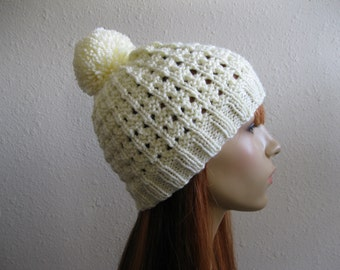 CLEARANCE SALE 30% OFF - Knitted Beanie Hat Off White Lace Beanie Hat Pom Pom - Ready to Ship