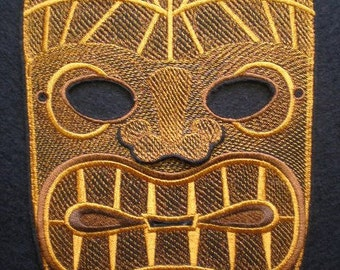 Adult Size Embroidered Full Face Tiki Mask, Halloween Mask, Mardi Gras and Costume Mask, WALL ART