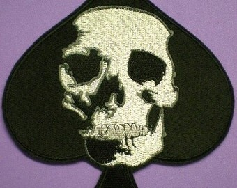 Large 7 1/2  X  6 1/2 Inch Embroidered Skull and Spade Iron On Applique Patch,  Spade Card and Skull, Gothic, Texas Hold Em